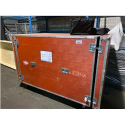 ROLLING ROAD CASE WITH TRADE SHOW SET UP INC.: 2 TRADE SHOW DISPLAYS / CANNISTERS, TABLE