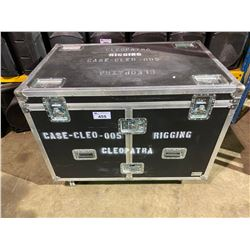 "ROLLING ROAD CASE WITH RIGGING ITEMS.  CASE MEASURES: 48"" WIDE X 32"" DEEP X 38"" TALL"