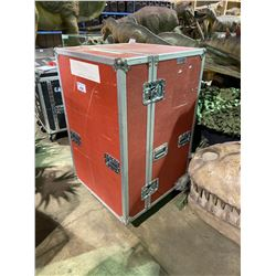 "ROLLING ROAD CASE WITH EXHIBIT SUPPLIES.  CASE MEASURES: 30"" WIDE X 30"" DEEP X 50"" TALL"