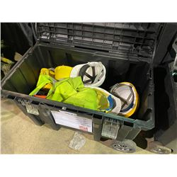 STANLEY ROLLING JOB BIN WITH CONTENTS INC: SAFETY GEAR, RIGGING, HARNESSES ETC.
