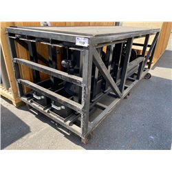 LARGE ROLLING RACK WITH STANTION STANDS