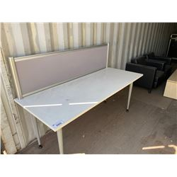 LOT OF OFFICE FURNITURE INC. DESK WITH PRIVACY SCREEN, SMALL WOOD DESK, 2 X 2 DRW LATERAL FILE