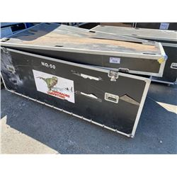 "ROLLING ROAD CASE, 89"" WIDE X 49"" DEEP X 44"" TALL"