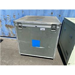 """ROLLING WOODEN ROAD CASE, MEASURES: 43"""" WIDE X 39"""" DEEP X 46"""" TALL"""