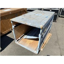 """WOODEN ROAD CASE, MEASURES: 65"""" WIDE X 35"""" DEEP X 34"""" TALL"""