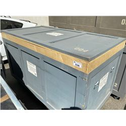 """ROLLING WOODEN ROAD CASE, MEASURES: 84"""" WIDE X 44"""" DEEP X 50"""" TALL"""