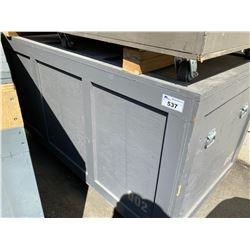 """ROLLING WOODEN ROAD CASE, MEASURES: 84"""" WIDE X 44"""" DEEP X 46"""" TALL"""