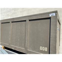 """ROLLING WOODEN ROAD CASE, MEASURES: 84"""" WIDE X 44"""" DEEP X 45"""" TALL"""