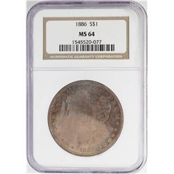1886 $1 Morgan Silver Dollar Coin NGC MS64 Amazing Toning