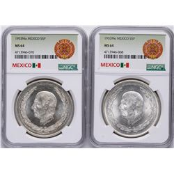 Lot of (2) 1953Mo Mexico 5 Pesos Silver Coins NGC MS64