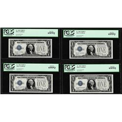 (4) Consecutive 1928B $1 Funnyback Silver Certificate Notes Fr.1602 PCGS Gem New 65PPQ