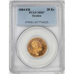1884-EB Sweden 20 Kroners Gold Coin PCGS MS67