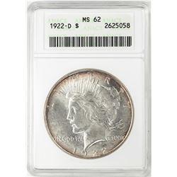 1922-D $1 Peace Silver Dollar Coin ANACS MS62