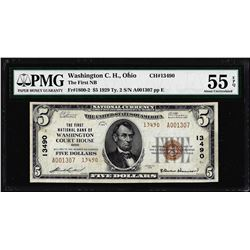 1929 $5 Washington Court House, OH CH# 13490 National Note PMG About Uncirculated 55EPQ
