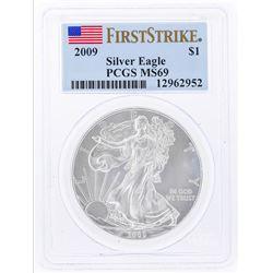 2009 $1 American Silver Eagle Coin PCGS Graded MS69