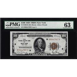 1929 $100 Federal Reserve Bank Note New York Fr.1890-B PMG Choice Uncirculated 63