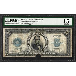 1923 $5 Porthole Silver Certificate Note Fr.282 PMG Choice Fine 15