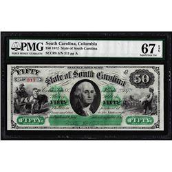 1872 $50 State of South Carolina Revenue Bond Obsolete Note PMG Superb Gem Unc. 67EPQ