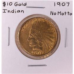 1907 No Motto $10 Indian Head Eagle Gold Coin