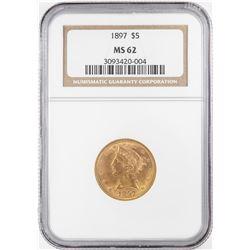 1897 $5 Liberty Head Half Eagle Gold Coin NGC MS62