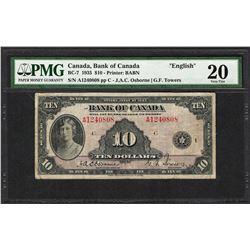 """1935 $10 Bank of Canada """"English"""" Bank Note BC-7 PMG Very Fine 20"""