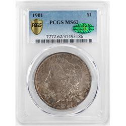 1901 $1 Morgan Silver Dollar Coin PCGS MS62 CAC