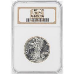 1942 Proof Walking Liberty Half Dollar Coin NGC PF65