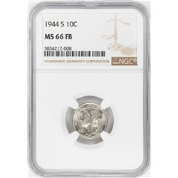 1944-S Mercury Dime Coin NGC MS66FB
