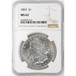 1893 $1 Morgan Silver Dollar Coin NGC MS62
