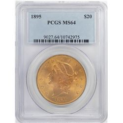 1895 $20 Liberty Head Double Eagle Gold Coin PCGS MS64