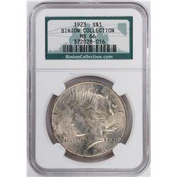 1923 $1 Peace Silver Dollar Coin NGC MS66 Binion Collection