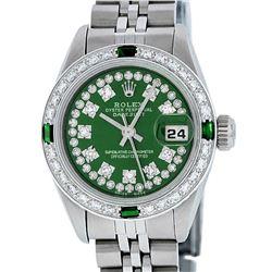 Rolex Ladies Stainless Steel Green String Emerald & Diamond Datejust Wristwatch