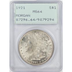 1921 $1 Morgan Silver Dollar Coin PCGS MS64 Old Green Rattler