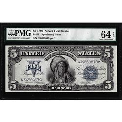 1899 $5 Indian Chief Silver Certificate Note Fr. 281 PMG Choice Uncirculated 64EPQ