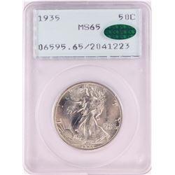 1935 Walking Liberty Half Dollar Coin PCGS MS65 CAC Green Rattler Holder