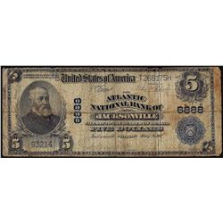 1902PB $5 Atlantic NB of Jacksonville, Florida CH# 6888 National Currency Note