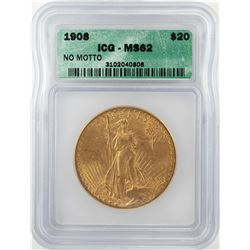 1908 $20 St. Gaudens Double Eagle Gold Coin ICG MS62
