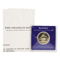 1975 $100 Barbados Gold Proof Coin