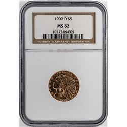 1909-D $5 Indian Half Eagle Gold Coin NGC MS62