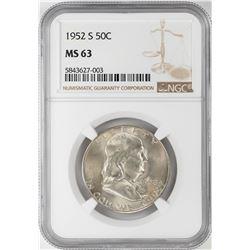 1952-S Franklin Half Dollar Coin NGC MS63