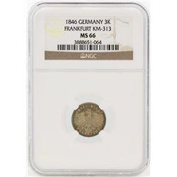 1846 Germany 3 Kreuzer Coin NGC MS66