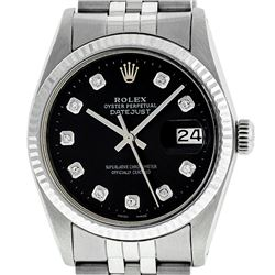 Rolex Men's Stainless Steel Black Diamond 36MM Datejust Wristwatch