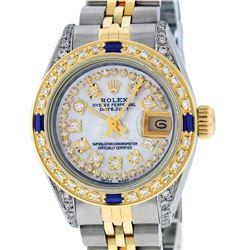 Rolex Ladies Two Tone 14K MOP String Diamond Lugs & Sapphire Datejust Wristwatch