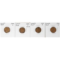 Lot of (4) Key Date Lincoln Wheat Cent Coins 1909-S, 1909-S VDB, 1914-D & 1931-S Lincoln Cents