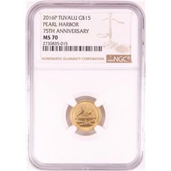 2016-P $15 Tuvalu Pearl Harbor 75th Anniversary Gold Coin NGC MS70