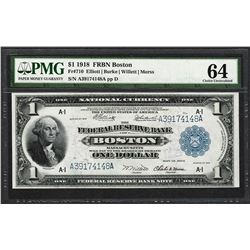 1918 $1 Federal Reserve Bank Note Boston Fr.710 PMG Choice Uncirculated 64
