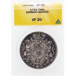 1754 Thal Germany Bavaria Coin ANACS VF20
