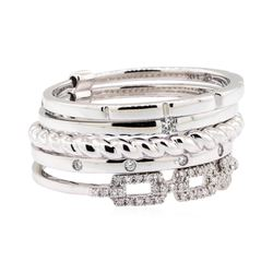 14KT White Gold 0.20 ctw Diamond Stackable Band