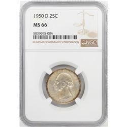 1950-D Washington Quarter Coin NGC MS66