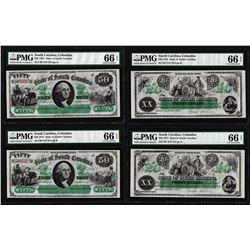 Cut Sheet of 1872 $20 & $50 State of South Carolina Obsolete Notes PMG Gem Unc. 66EPQ